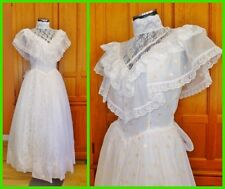 New Vtg 70s GUNNE SAX Organza Lace Prairie Boho Hippie Wedding Maxi DRESS GOWN