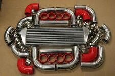 3' RED FIMC INTERCOOLER+TURBO PIPING KIT COUPLER CLAMP TURBOCHARGER SUPERCHARGER
