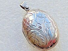 VINTAGE STERLING SILVER ETCHED OVAL LOCKET PENDANT 925 and ?