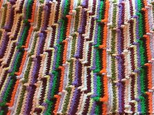 Vintage Crochet Afghan Lap Blanket Handmade Multi-Color Zig Zag Chevron Striped