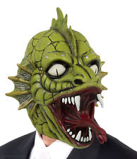MENS SCARY HALLOWEEN BLACK LAGOON CREATURE MASK FANCY DRESS LATEX OVERHEAD NEW
