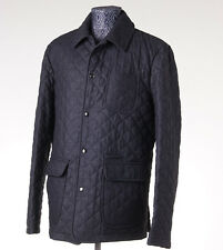 NWT $2595 ISAIA NAPOLI Charcoal Gray Quilted Wool Outer Jacket L (Eu 54)