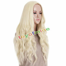 Perruque Cheveux Postiches Frisés Wig Naturel Blonde Long Femme Cosplay Sexy