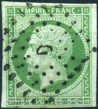 FRANCE EMPIRE N° 12b VERT FONCE OBLITERATION BUREAU DE PARIS COTE 225€