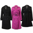 Ladies Wool Look Coat Womens Double Breasted Military Jacket Trench BELT Winter