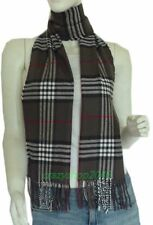 Soft 100% Cashmere Classic Plaid Tassel Ends Long Scarf( DkGrey Plaid)