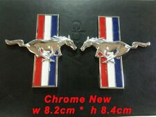 Set Chrome Running Horse Emblem Door Fender Badge Sticker Logo For Ford Mustang