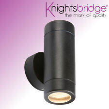 Knightsbridge Double Outdoor Decrotive IP65 Black Up and Down Wall Light GU10