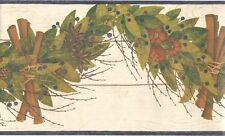 Folk Art Dried Leaf Swag Blue Wallpaper Border HA6110-1B