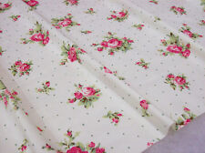 "Cottage Chic Victoria Shabby Pink Roses on White Fabric BTHY ~60"" wide"