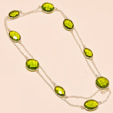 PERIDOT TOPAZ GEMSTONE 925 STERLING SILVER NECKLACE 18""
