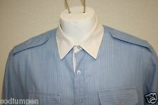 Men`s Vintage Boulevard Blue White Collar Short Sleeve Button Up Xl Tall Shirt