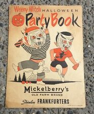 1951 Weeny Witch Halloween Party Book Masks Placecard Mickelberry's Frankfurters