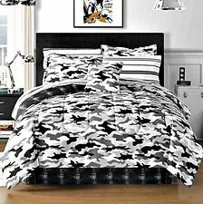 Black Gray Camouflage Camo Army Boys Full Comforter Set (8 Piece Bed In A Bag)