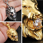 Cool Stainless Steel Men's Gold/Silver Lion King Pendant Necklace White Stone