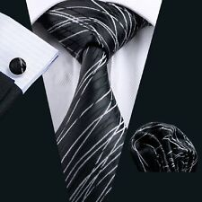 C-1171 Classic Men's Silk Tie Blacks Accessories Sets Wedding Party Business New