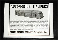 1904 OLD MAGAZINE PRINT AD, RATTAN NOVELTY CO, AUTOMOBILE HAMPERS, QUALITY!