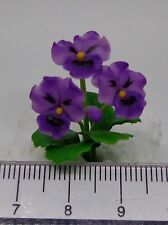 1:12 Scale Pansy Flowers (Purple) Doll House Miniatures Flowers, Garden