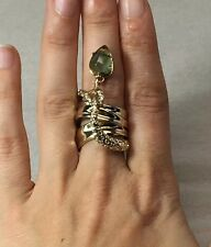 NEW ALEXIS BITTAR Wide Gold Crystal Vine Labradorite Charm Ring Size 6 $195