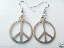 1 Pair Fashion Peace Sign Charm earring  Silver plated
