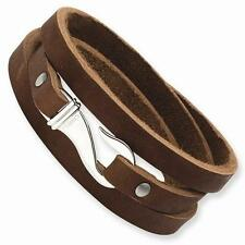 New Chisel Stainless Steel Brown Leather Wrap Bracelet 24in