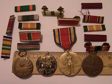 MILITARY MIXED LOT WW2 VICTORY MEDAL 3 OTHERS & 14 RIBBONS