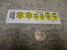 Herald King decals HO O S G scale Sheriff Police badges yellow  ZZ284
