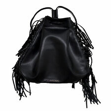 Victoria's Secret Backpack Black Fringe Cinch Bag Purse Drawstring Bookbag