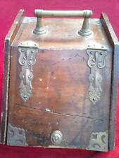 Vintage antique ? wooden coal log storage fire side box Purdonium for open fire