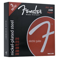 Fender 3 Pack Nickel-Plated Steel Guitar Strings 250R 3 Sets 10-46 073-0250-310