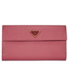 Prada Long Saffiano Leather Wallet - Peonia