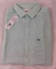 Lacoste Men's Plaid Shirt Regular Fit Moorea Green White EU 40 US M