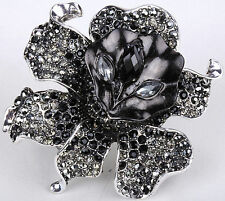 Stunning Flower Pin Brooch Crystal Rhinestone Fashion Jewelry Gift Black ZF01