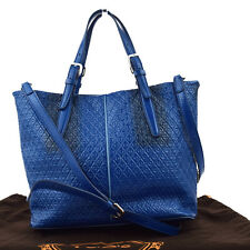 Auth TOD'S Logos 2Way Shoulder Hand Tote Bag Patent Leather Blue Italy 02W615