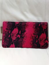 Accessorize Pink Black Limited Edition Leather Animal Print Clutch Bag Handbag