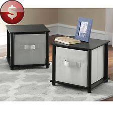 END SIDE TABLES Set of 2 Night Stand Cube Storage Contemporary Black Unit PAIR