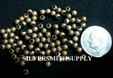 Antique bronze plated 3mm round spacer beads necklaces bracelets 100 pcs fpb133