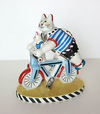 BICYCLE CATS VIlleroy Boch BENEDIKT FRIENDS Porcelain FIGURINE  BIKE