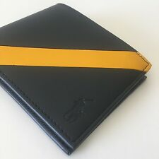 Ralph Lauren Polo Men's Navy / Gold Stripe Leather Billfold Bifold Wallet NWT