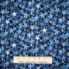 Christmas Fabric - Holiday Accents Blue Stars With Silver Metallic  - RJR YARD
