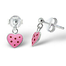 Children's 925 Sterling Silver Earrings- Pink Heart w/ Red Spot Heart Drop Studs