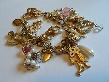 """KIRKS FOLLY Gold Tone Chain Bracelet W/Butterfly, Stars, Insect Charms, 9"""""""