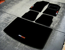 Car Mats in Black to fit Peugeot 205 + 205 GTX Logos (White/Red) + Boot Mat