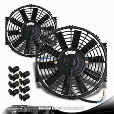 """2x Black 16"""" High Performance Electric Cooling Pull Slim Radiator Fan For Nissan"""