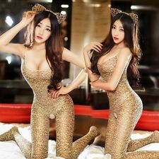 Women Leopard Print Sexy Costume Tights Bodysuit Crotchless Metallic Catsuit New