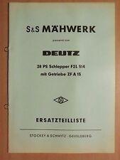 Ersatzteilliste S&S Mähwerk TM 20004A 28PS Deutz Schlepper F2L514 Getriebe ZFA15