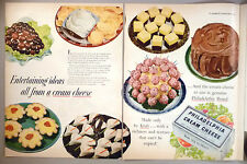 Philadelphia Cream Cheese 4-Page PRINT AD - 1953 ~ with 2 pages of recipes