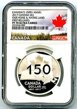 2017 CANADA $1 SILVER DOLLAR NGC PF70 150TH ANNIVERSARY FIRST RELEASES SOLD OUT