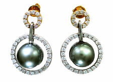 1.0ct Tahitian Pearls & Diamond Drop Earrings in 18K White Gold