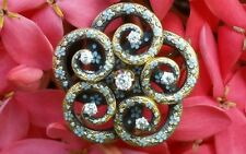 Antique 14k Gold Enamel Diamond Floral Love Knot Victorian Repoussé Brooch  Pin
